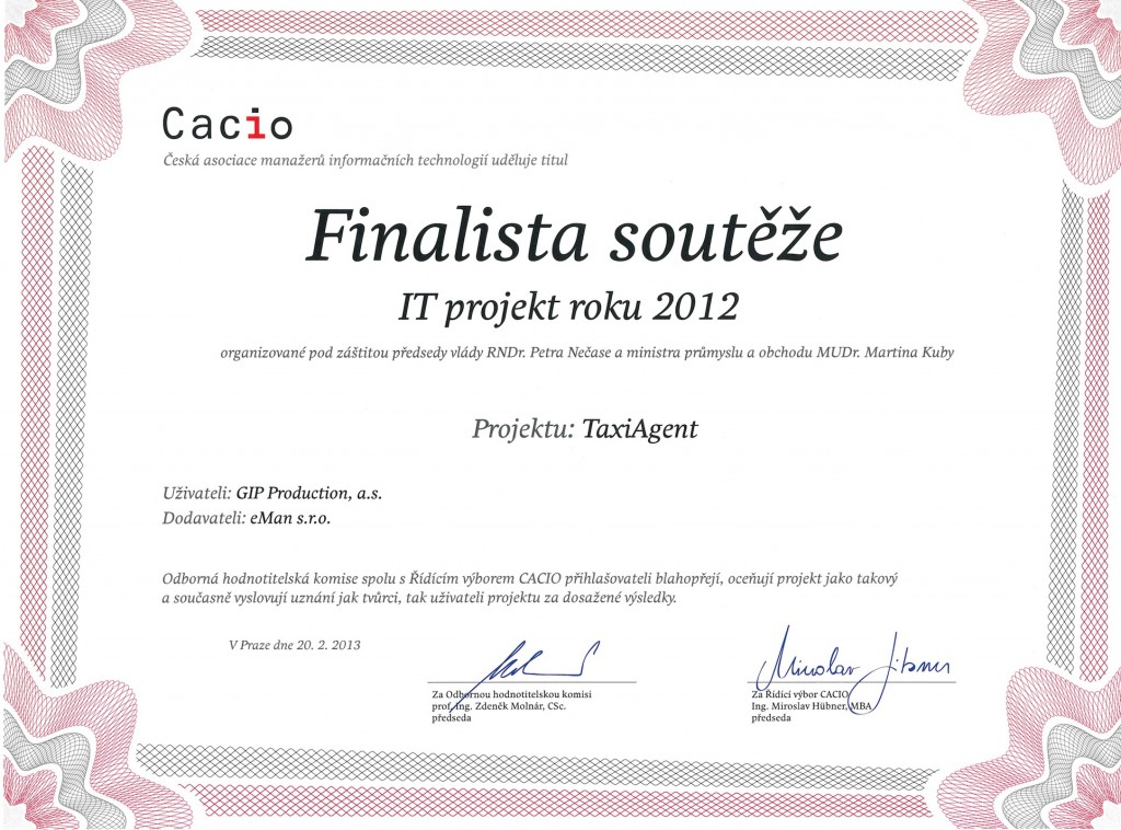 IT projekt roku 2012 - TaxiAgent - diplom (eMan s.r.o.)