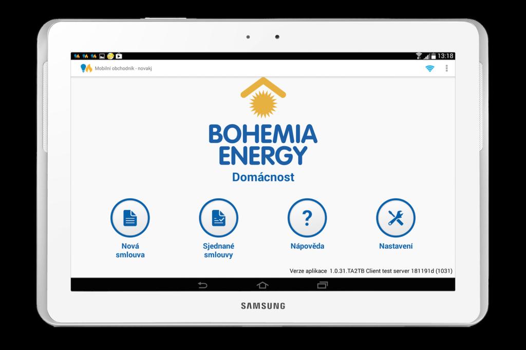 Bohemia Energy - řešení pro uzavírání smluv prostřednictvím tabletů