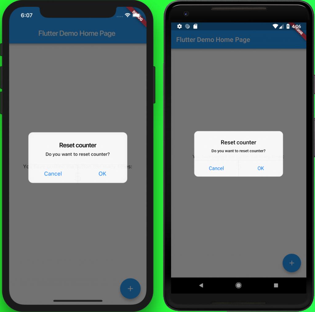 iOS design dialog flutter eMan